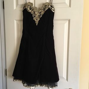 Vintage velvet gold and black party dress small
